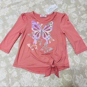 NWT Sequins Butterfly Pink Toddlers Girl Tee 6T